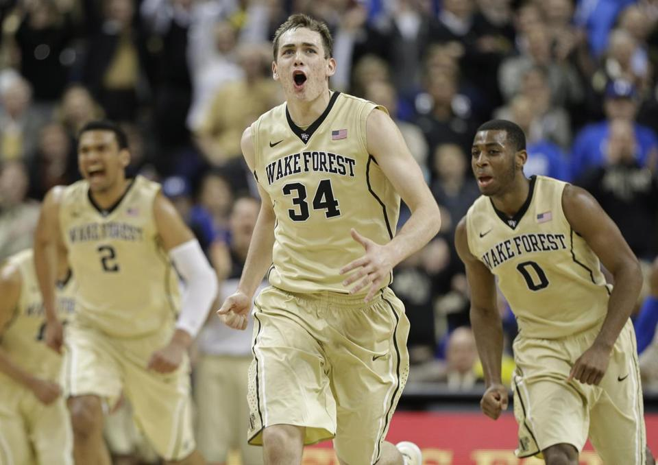 Tyler Cavanaugh (34) was pumped up after nailing a 3-pointer in Wednesday's win over Duke.